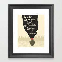 Endure Burning - Viktor Frankl Quote - wood heart Framed Art Print