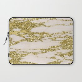 Marble - Gold Marble Glittery Light Pink and Yellow Gold Laptop Sleeve