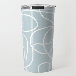 Doodle Line Art | White Lines on Silvery Blue Travel Mug
