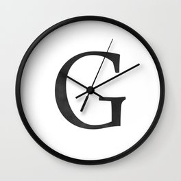 Letter G Initial Monogram Black and White Wall Clock