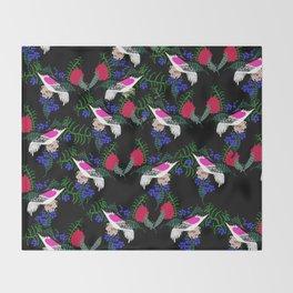 Sgraffito Birds - Bright Fuchsia Botanical Birds and Flowers Throw Blanket