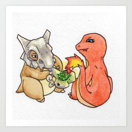 kushbone and charredmander smoke a bone Art Print