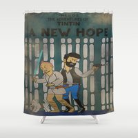 rare Shower Curtains featuring rare tintin comic by space boy studios