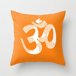 Start your day with OM on Orange Colour Throw Pillow