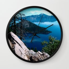 Volcano Deep Blue Crater Lake Oregon USA Wall Clock
