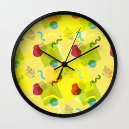 Neo Memphis Fun - Yellow Wall Clock