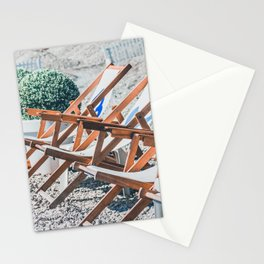 Deck chairs on a beach during spring Stationery Cards