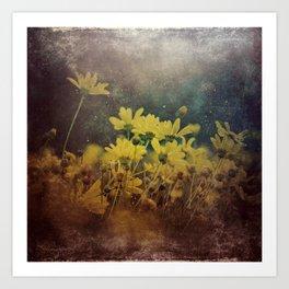 Abstract Yellow Daisies Art Print