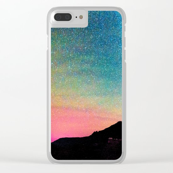 Milky Way Landscape Rainbow Pastel Clear iPhone Case