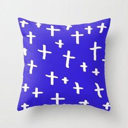 blue white cross Throw Pillow