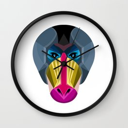 Male Mandrill Head Flat Icon Wall Clock