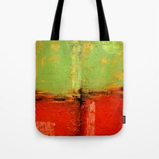 Textured abstract in green and orange Tote Bag