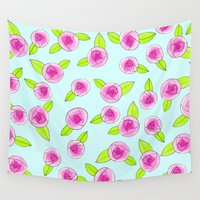 girly Wall Tapestries featuring Girly Roses by Pizzazz Design
