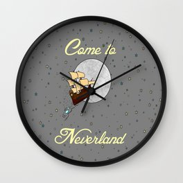 Disney's Peter Pan Neverland Travel Poster 2 Wall Clock