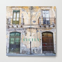 Antique Facade of Sicily Metal Print