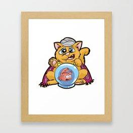 FORTUNE TELLER CAT Fish Bowl Glass clairvoyant Framed Art Print