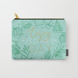 Monogram pots with plants enjoy flower turquoise Carry-All Pouch
