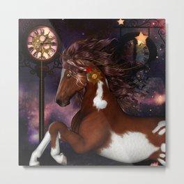 Steampunk Wonderful wild horse with Metal Print