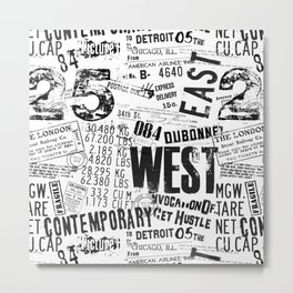 East West Grunge Distressed black white #urban typography Metal Print