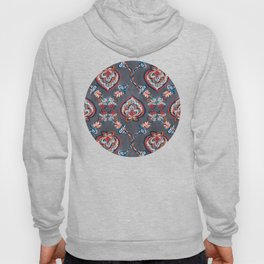 Floral Ogees in Red & Blue on Grey Hoody
