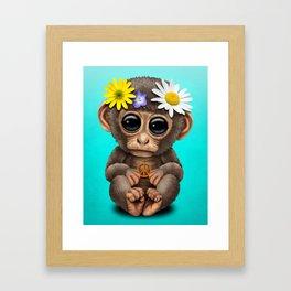 Cute Baby Monkey Hippie Framed Art Print