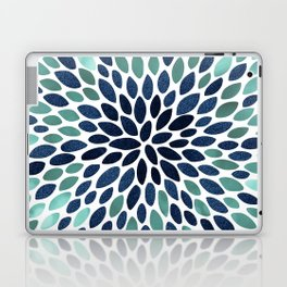 Flower Bloom, Aqua and Navy Laptop & iPad Skin