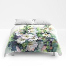 Watercolor Hollyhocks white flowers Comforters
