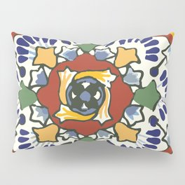 Talavera Mexican tile inspired bold design in blue, green, red, orange Pillow Sham