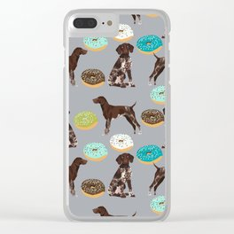 German Shorthair Pointer donuts dog art custom pet portraits of dog breeds by pet friendly Clear iPhone Case
