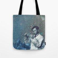 fullmetal alchemist Tote Bags featuring THE ALCHEMIST by Julia Lillard Art