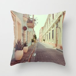 Pastel colors in the colonial downtown of Cartagena de Indias - Fine Art Photography Throw Pillow