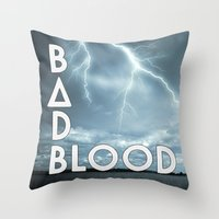 bastille Throw Pillows featuring Bastille - Bad Blood #2 by Thafrayer
