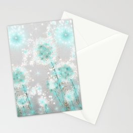 Dandelions in Turquoise Stationery Cards