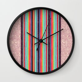 Stripes and pattern in primaries Wall Clock