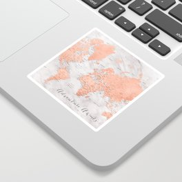"Adventure awaits world map in rose gold and marble, ""Janine"" Sticker"