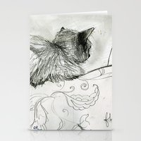 sofa Stationery Cards featuring Fluffers on the Sofa by Tiny Pencil Studio