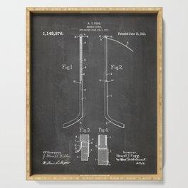 Ice Hockey Stick Patent - Ice Hockey Art - Black Chalkboard Serving Tray