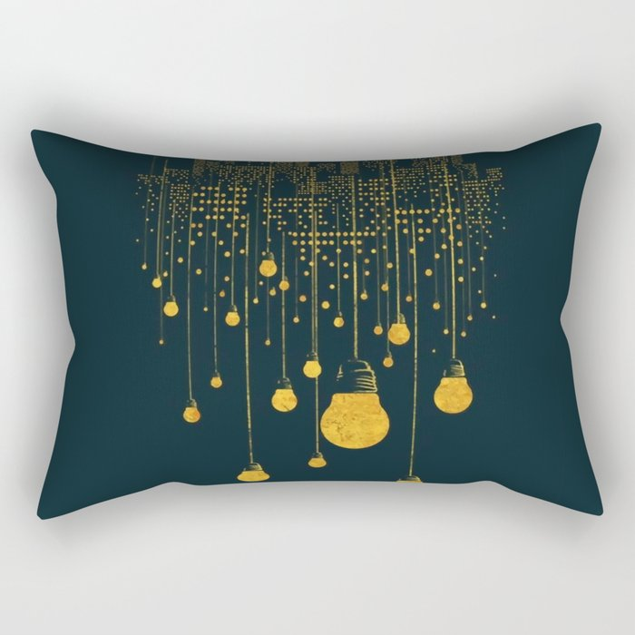 Light Bulb City skyline Rectangular Pillow