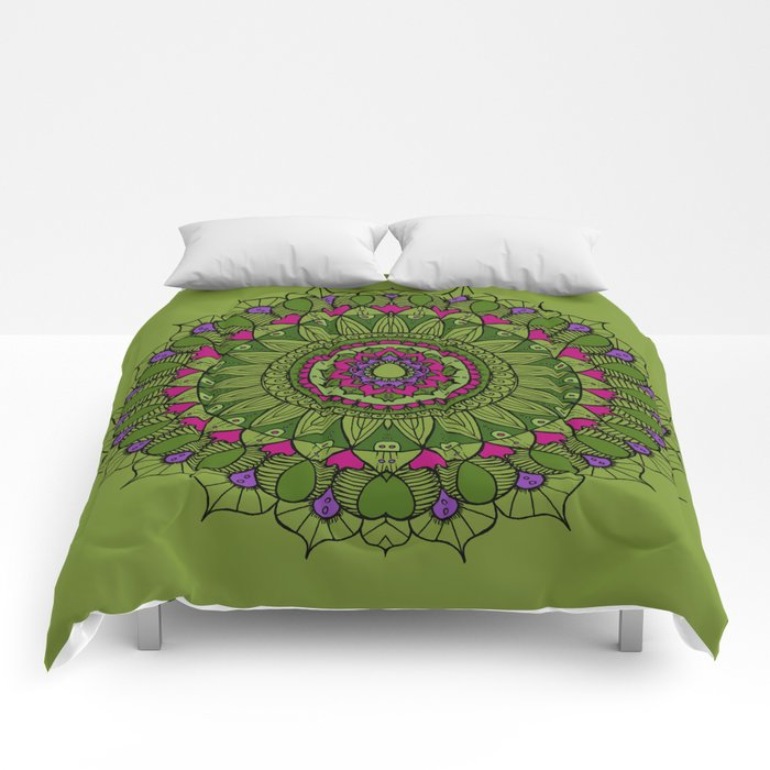 Bohemian Mandala in Green with Pink and Purple Comforters