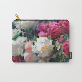White & Pink Roses Carry-All Pouch