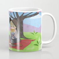 dragon age inquisition Mugs featuring Dragon Age - Varric and Cole Picnic by Choco-Minto