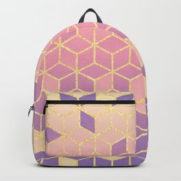 Geometry Cube Gold and Purple Gradient Backpack