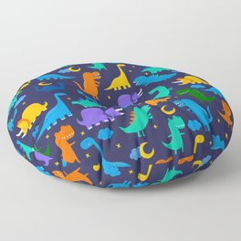 Dinosaurs At Night Blue Orange Green Dinosaur Kids Pattern Floor Pillow