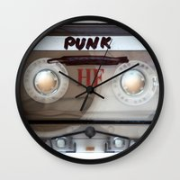 punk rock Wall Clocks featuring PUNK ROCK by The Family Art Project