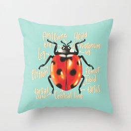 Ladybug scientific anatomy illustration Throw Pillow