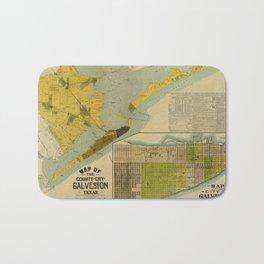 Vintage Map of Galveston Texas (1891) Bath Mat