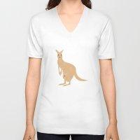 kangaroo V-neck T-shirts featuring Kangaroo by tamara elphick
