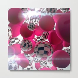 Ska Balls and Pink Power Puffs Metal Print