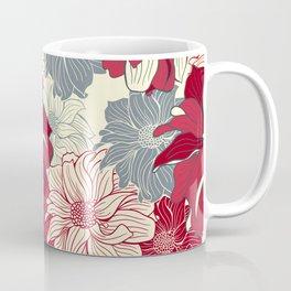 Dahlia pattern in cherry-red and grey Coffee Mug