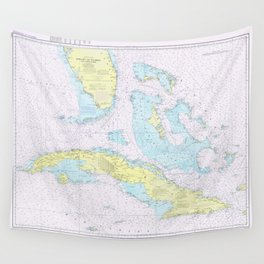 Vintage Map of The Straits of Florida (1976) Wall Tapestry